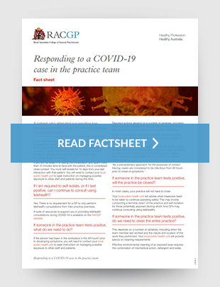 Responding to a COVID-19 case in the practice team