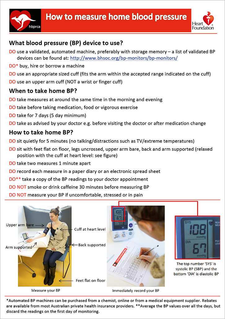 RACGP - How to measure home blood pressure: Recommendations